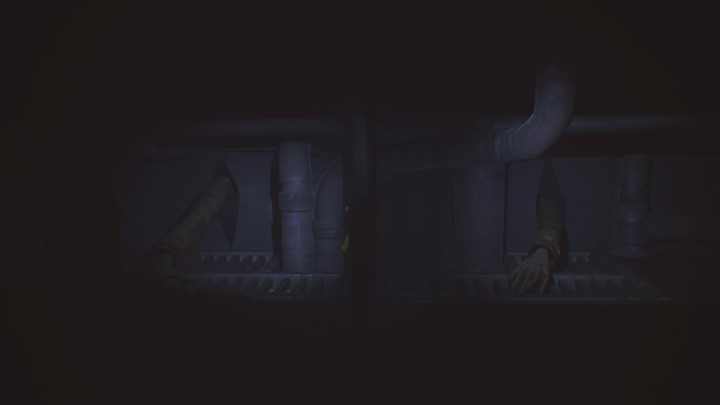 Wait until the right hand is feeling the higher pipes and then go further ahead. - The room with clocks and the library (The Lair) - The Lair - Little Nightmares Game Guide
