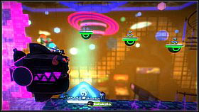 In the second phase you have to jump using the launch pads or grab the sponges, continuously being sucked in by the enemy - Into the Heart of the Negativitron - The Cosmos - LittleBigPlanet 2 - Game Guide and Walkthrough