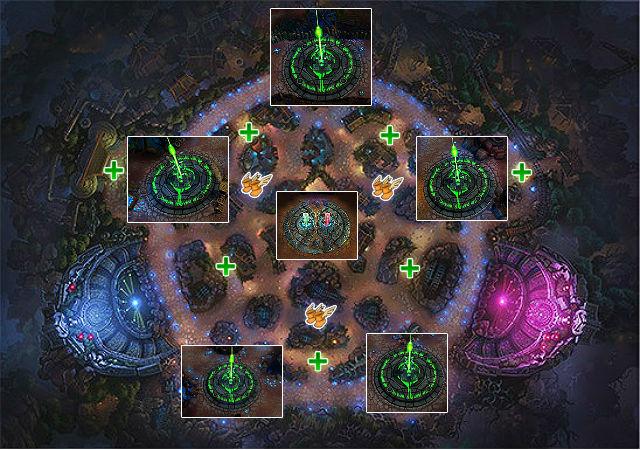 Mapa táctico de La Cicatriz de Cristal. Se destacan las cinco bases, los potenciadores centrales y los de velocidad, así como los curaciones.