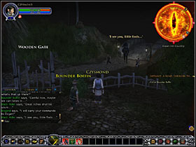 Clear the way killing both spiders (you attack an enemy by right-clicking it), then talk to Boffin again - Hobbits: A Road through the dark - Walkthrough - Lord of the Rings Online: First Steps - Game Guide and Walkthrough