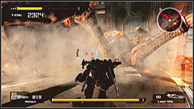 When you manage to make the spider fall down, attack the large weak spot on its back - Mission 9 - Walkthrough - Lost Planet: Extreme Condition - Game Guide and Walkthrough