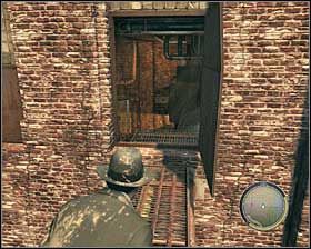 Climb to a small roof and then to a pipe #1 and a metal balcony #2 - Chapter 9 - Balls and Beans - p. 2 - Walkthrough - Mafia II - Game Guide and Walkthrough