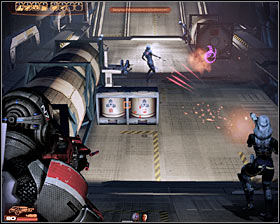 Notice that there are a lot of explosive containers and crates in the area and naturally you should use them to your advantage - Walkthrough - The Reaper IFF - Main quests - Mass Effect 2 - Game Guide and Walkthrough