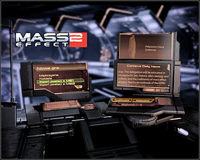 Main menu of the game offers three options - creating a new hero (male or female), importing a character from Mass Effect 1 and importing a character from Mass Effect 2 (only if you've already finished it) - World Atlas - The basics - Starting a new game - World Atlas - The basics - Mass Effect 2 - Game Guide and Walkthrough