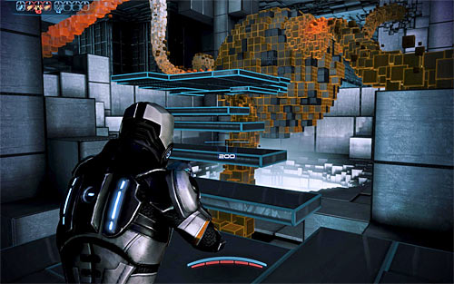 Start moving towards the second data cluster seen in the distance, using the passageway which was previously blocked by red tiles (screen above) - Rannoch: Geth Fighter Squadrons - Main quests - Mass Effect 3 - Game Guide and Walkthrough