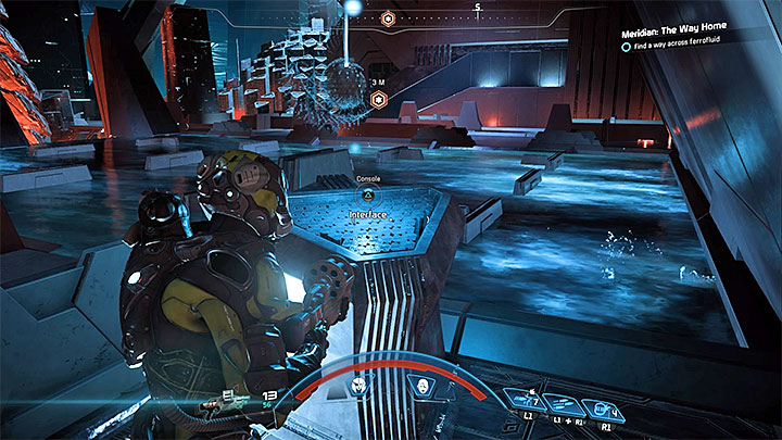 The second relay is located in the eastern part of the room, but you have to wade through the southern part to reach it - Meridian: The Way Home | Priority Ops - Priority Ops (Main quests) - Mass Effect: Andromeda Game Guide