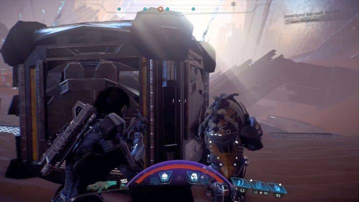 Taking path on the right will provide enough cover from the Remnant turrets fire. - Investigate Remnant Derelict on Elaaden - Elaaden - Mass Effect: Andromeda Game Guide