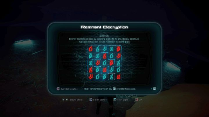 Remnant Decryption puzzle solution. - Investigate Remnant Derelict on Elaaden - Elaaden - Mass Effect: Andromeda Game Guide