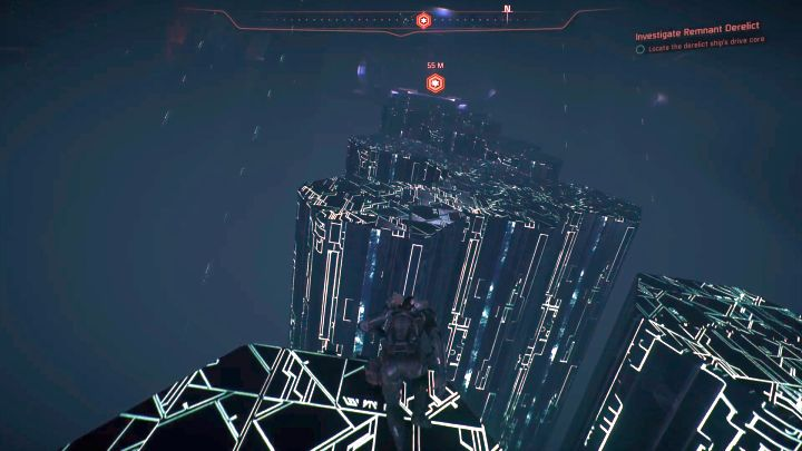You have to jump from column to column to get across. - Investigate Remnant Derelict on Elaaden - Elaaden - Mass Effect: Andromeda Game Guide