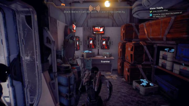 On the left from the entrance there is an item you must examine. - Water Supply on Elaaden - Elaaden - Mass Effect: Andromeda Game Guide