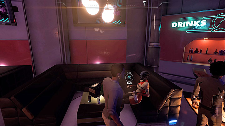 Lexi is sitting at the Vortex Bar - Lexi TPerro: Bottom of a Bottle | Allies and Relationships - Allies and Relationships quests - Mass Effect: Andromeda Game Guide