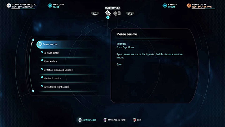 The quest begins with an urgent message from Captain Dunn - Contagion | Nexus side quests - Nexus - Mass Effect: Andromeda Game Guide