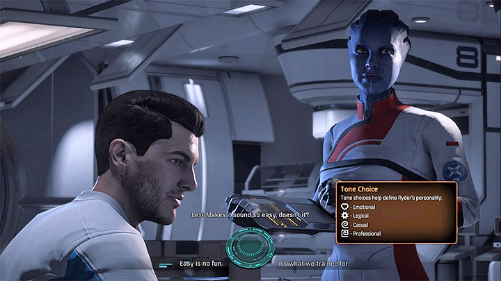 You can memorize the meanings of icons that symbolize different tones or recall them by opening the tutorial menu - Prologue: Hyperion | Priority Ops - Priority Ops (Main quests) - Mass Effect: Andromeda Game Guide