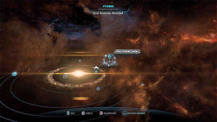 Scan the Pytheas cluster to find two stashes (the screenshot shows one of them) - Additional tasks | Eos side quests - Eos - Mass Effect: Andromeda Game Guide