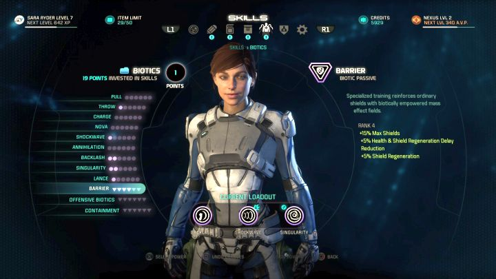 Protagonist development screen. - Character development in Mass Effect: Andromeda - Character - Mass Effect: Andromeda Game Guide