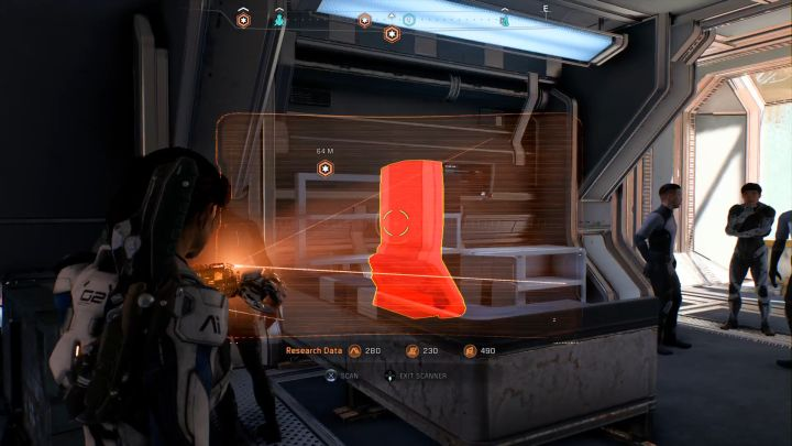 Scan the items you come across - if they are colored red, you can gain Research Data points. - A handful of general tips | Gameplay basics - Gameplay basics - Mass Effect: Andromeda Game Guide