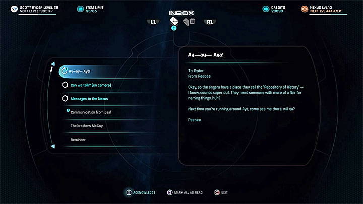 The new e-mail from Peebee - Peebee: The Museum Trip | Allies and Relationships - Allies and Relationships quests - Mass Effect: Andromeda Game Guide