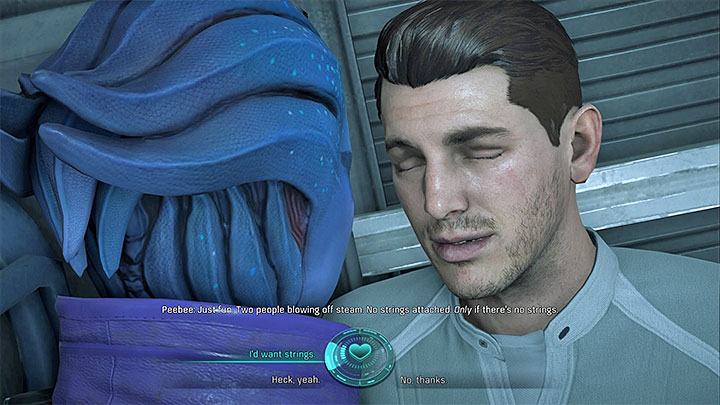 Despite the official ending of the quest, you must now make the most important decision about your relation with Peebee - Peebee: The Museum Trip | Allies and Relationships - Allies and Relationships quests - Mass Effect: Andromeda Game Guide