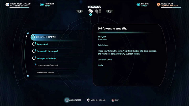 Read Liams e-mail and meet him on Tempest - Liam Kosta: All In (loyalty mission) | Allies and Relationships - Allies and Relationships quests - Mass Effect: Andromeda Game Guide