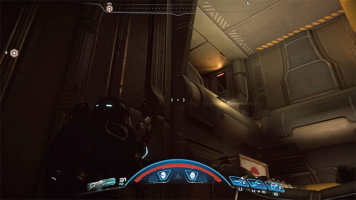 Look around and find the passage, presented in the picture above, that leads to the upper level (you must jump to reach it) - Liam Kosta: All In (loyalty mission) | Allies and Relationships - Allies and Relationships quests - Mass Effect: Andromeda Game Guide