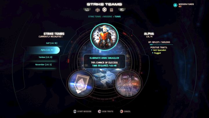 Strike Team assignment screen. - Strike Teams | Gameplay basics - Gameplay basics - Mass Effect: Andromeda Game Guide