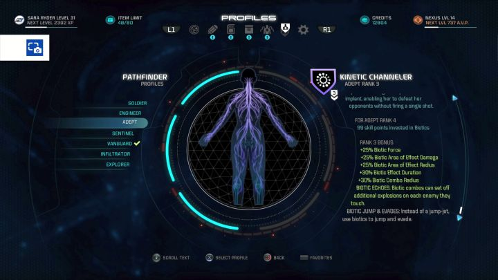 The Adept profile on the selection screen. - Adept | Character profiles - Character profiles - Mass Effect: Andromeda Game Guide