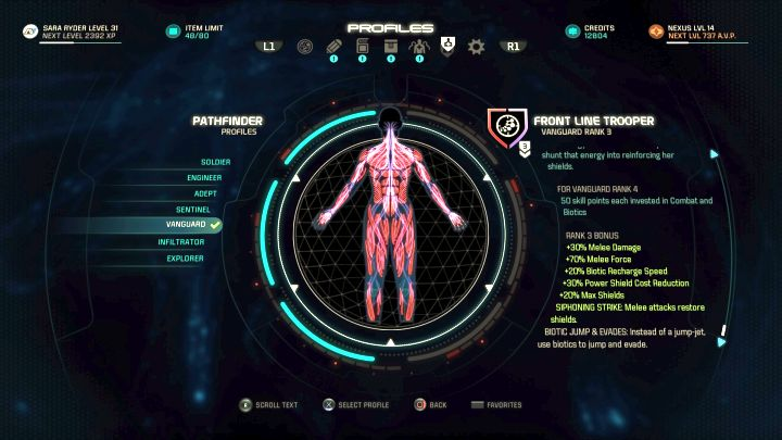 The Vanguard profile on the selection screen. - Vanguard | Character profiles - Character profiles - Mass Effect: Andromeda Game Guide