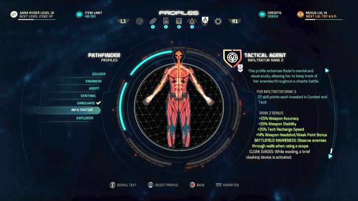 The Infiltrator profile on the Profile selection screen. - Infiltrator | Character profiles - Character profiles - Mass Effect: Andromeda Game Guide