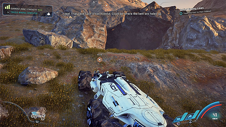 You must use the scanner and find the Kett tracks similar to those in the picture 1 - Behind Enemy Lines | Kadara side quests - Kadara - Mass Effect: Andromeda Game Guide