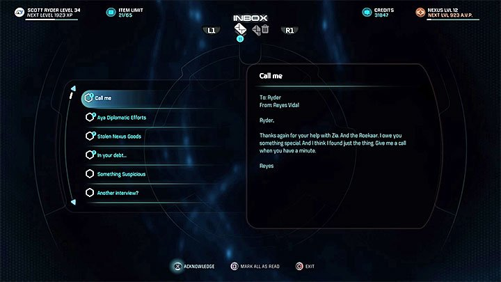 Read the e-mail from Reyes - Night on the Town | Kadara side quests - Kadara - Mass Effect: Andromeda Game Guide