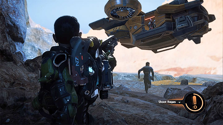 The Narrative Action during which you can shoot Reyes - High Noon | Kadara side quests - Kadara - Mass Effect: Andromeda Game Guide