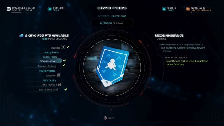 Reconnaissance is one of the best cryo pod capsules in the game. - Which cryo pod capsules should you open first and which should you avoid? - FAQ - Frequently asked questions - Mass Effect: Andromeda Game Guide