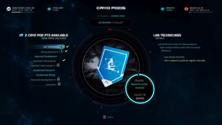 Lab Technicians will reward you with Milky Way research points. - Which cryo pod capsules should you open first and which should you avoid? - FAQ - Frequently asked questions - Mass Effect: Andromeda Game Guide