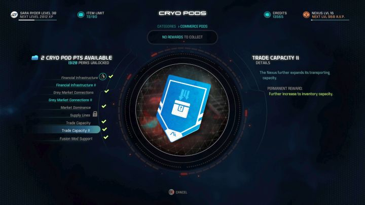 This cryo pod capsule will allow you to carry 80 items at once. - How to increase the item limit of the character in Mass Effect: Andromeda? - FAQ - Frequently asked questions - Mass Effect: Andromeda Game Guide