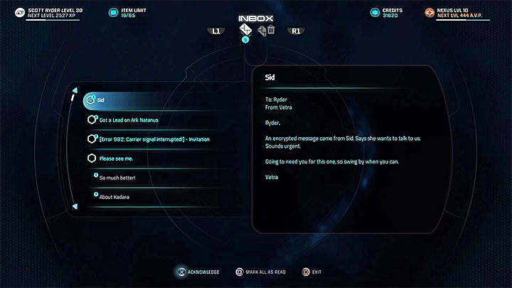 Read the e-mail from Vetra and meet with her personally - Vetra Nyx: Means and Ends - Allies and Relationships quests - Mass Effect: Andromeda Game Guide