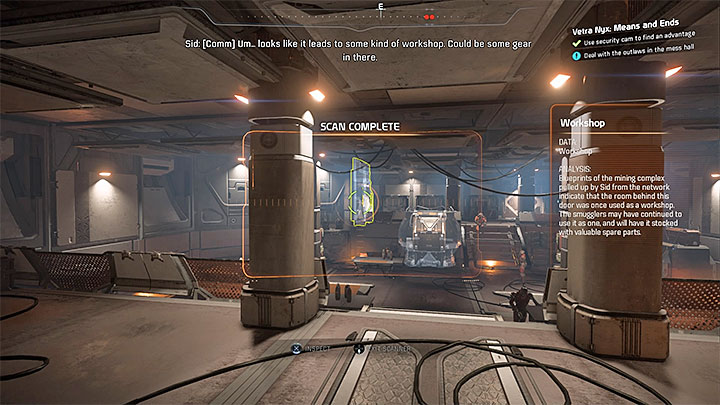You can blow up the generator or (a better idea) unlock the storage room with valuable items - Vetra Nyx: Means and Ends - Allies and Relationships quests - Mass Effect: Andromeda Game Guide