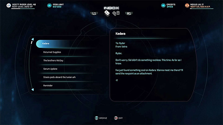 The e-mail from Vetra - Vetra Nyx: A Moment Planetside - Allies and Relationships quests - Mass Effect: Andromeda Game Guide
