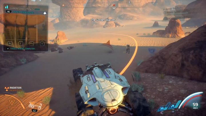 The orange line shows the range of the previously installed mining drone. - How to collect resources with the NOMAD in Mass Effect: Andromeda? - FAQ - Frequently asked questions - Mass Effect: Andromeda Game Guide