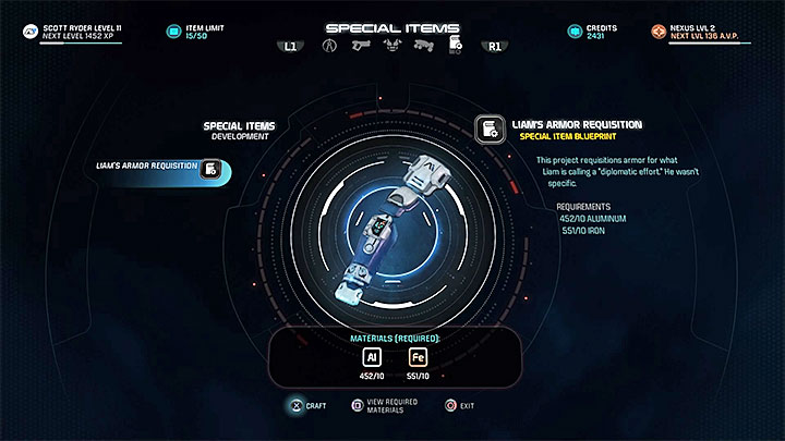 The item for Liam is in the last tab - Liam Kosta: Armor Diplomacy | Allies and Relationships - Allies and Relationships quests - Mass Effect: Andromeda Game Guide