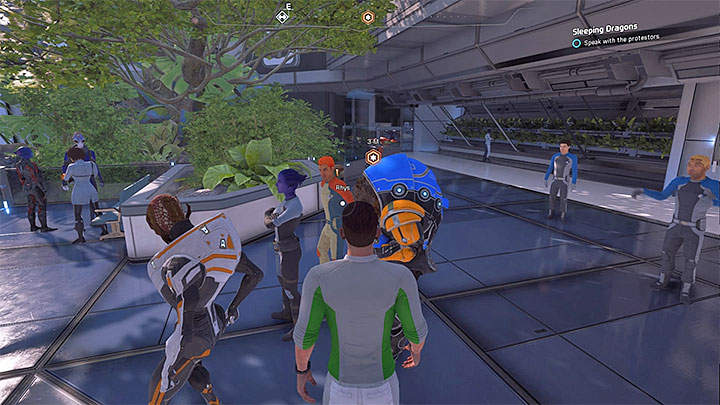 The protestors can be found near hydroponics sector - Sleeping Dragons | Nexus side quests - Nexus - Mass Effect: Andromeda Game Guide