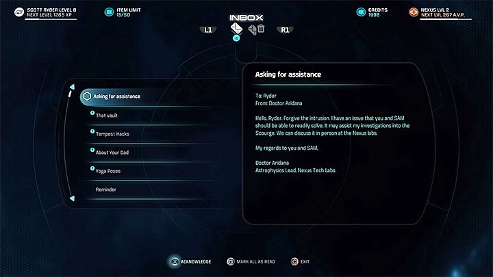 Wait for an e-mail from Doctor Aridana - The Firefighters | Nexus side quests - Nexus - Mass Effect: Andromeda Game Guide