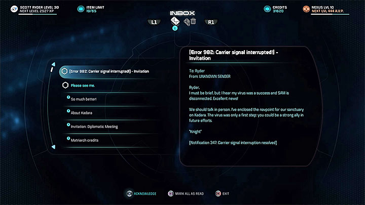 An e-mail from Knight - The Firefighters | Nexus side quests - Nexus - Mass Effect: Andromeda Game Guide