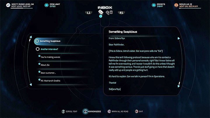 You must receive an e-mail from Sid - Life on the Frontier | Nexus side quests - Nexus - Mass Effect: Andromeda Game Guide