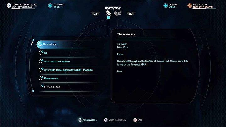Read the e-mail regarding the asari ark, then visit Coras cabin to talk to her - Cora Harper: At Dutys Edge (loyalty mission) | Allies and Relationships - Allies and Relationships quests - Mass Effect: Andromeda Game Guide