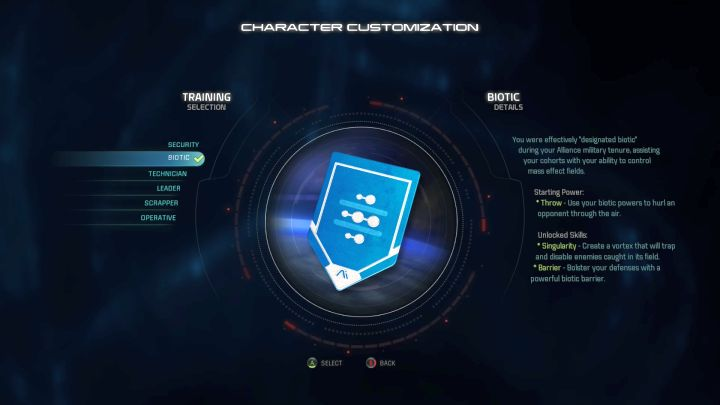 Biotic training selection. - Biotic | Trainings - Character training - Mass Effect: Andromeda Game Guide