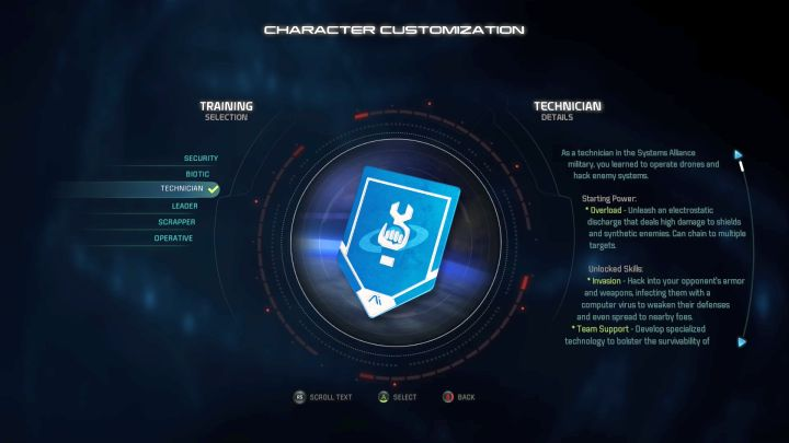 Technician training selection. - Technician | Trainings - Character training - Mass Effect: Andromeda Game Guide