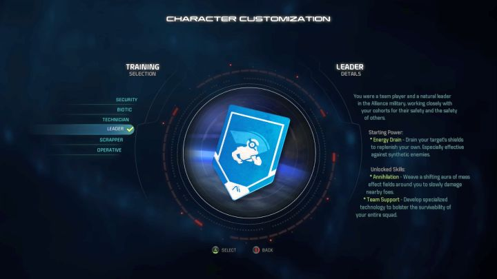 Leader training selection. - Leader | Trainings - Character training - Mass Effect: Andromeda Game Guide