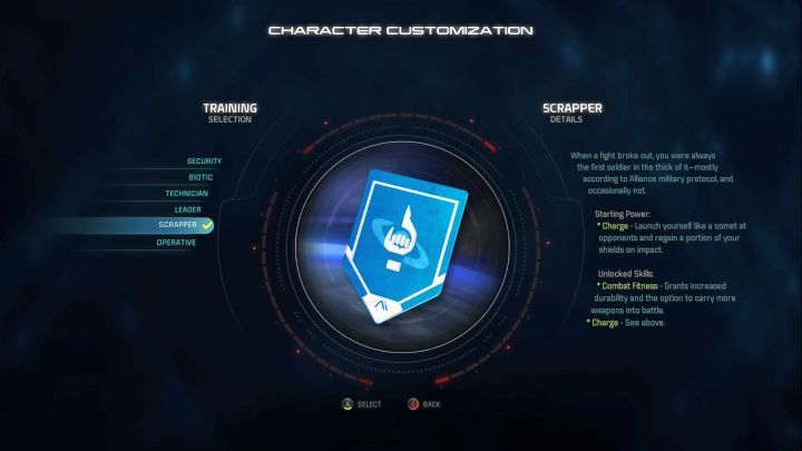 Scrapper training selection. - Scrapper | Trainings - Character training - Mass Effect: Andromeda Game Guide