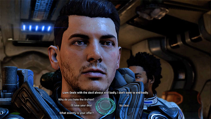 You can take the deal (left dialogue option) or be on the safe side (right dialogue option) - Dissension in the Ranks | Allies and Relationships - Allies and Relationships quests - Mass Effect: Andromeda Game Guide