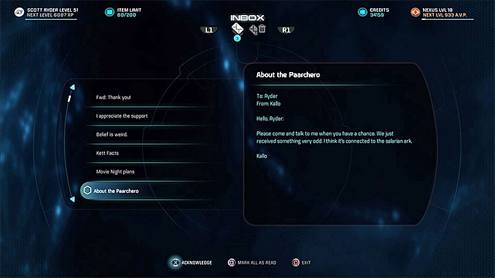 E-mail from Kallo - Truth and Trespass | Allies and Relationships - Allies and Relationships quests - Mass Effect: Andromeda Game Guide